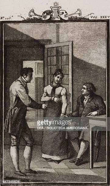 The waiter Gascony with Marianna and Filiberto engraving by Antonio Viviani from a drawing by G Steneri from A Curious Accident Act III Scene 3...