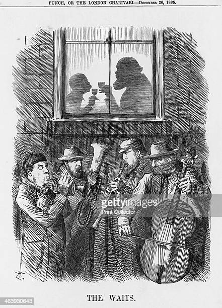 'The Waits' 1885 The shadowy figures drinking a toast are Lord Salisbury and Lord Randolph Churchill Outside are the Liberal's Joseph Chamberlain...