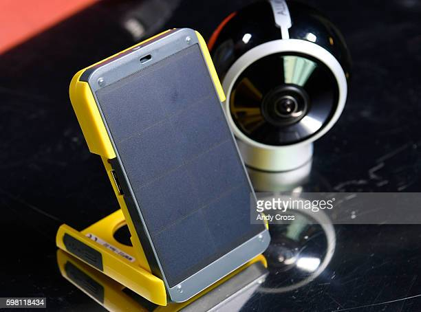 The WakaWaka solar cell phone charger left and the ALLie 360 degree camera at the Denver Post August 31 2016