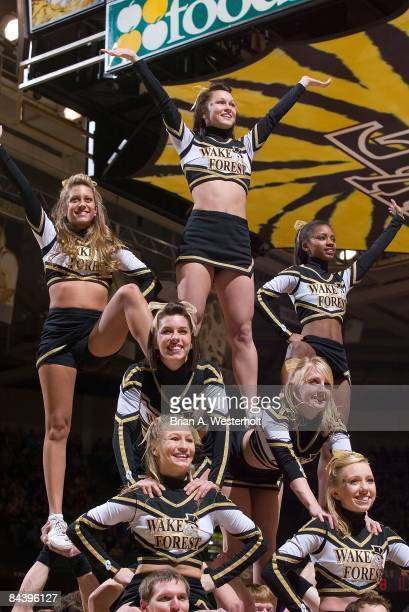 The Wake Forest Demon Deacon cheerleaders form a pyramid during a time out during the game against the North Carolina Tar Heels at the LJVM Coliseum...