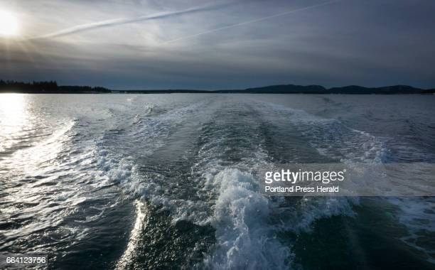 The wake of a boat churns up water off the coast of Mount Desert Island on Tuesday February 21 2017