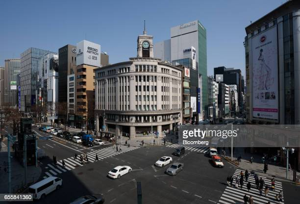 The Wako Co flagship store center stands in the Ginza district of Tokyo Japan on Monday March 20 2017 Japan's land prices will be released Tuesday...