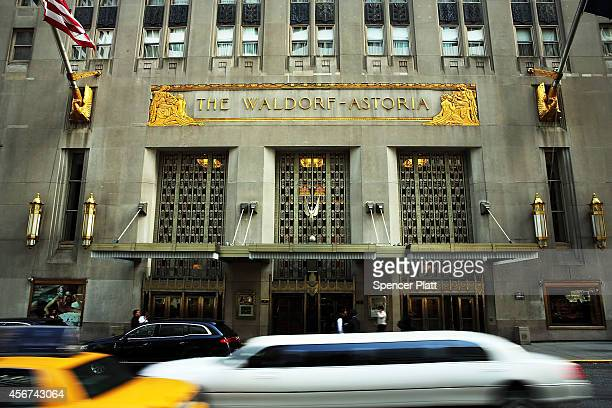 The Waldorf Astoria the landmark New York hotel is viewed on October 6 2014 in New York City It was announced October 6 that Hilton Worldwide will...
