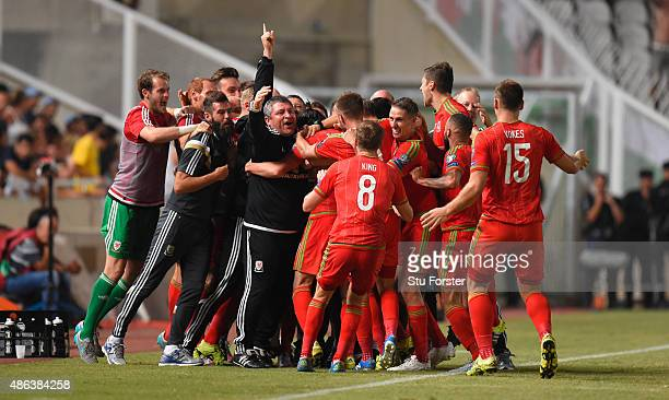 The Wales bench celebrate the opening goal during the UEFA EURO 2016 Qualifier between Cyprus and Wales at GPS Stadium on September 3 2015 in Nicosia...