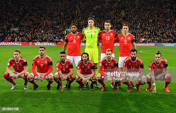 The Wales players pose for a team photo prior to the FIFA 2018 World Cup Qualifier between Wales and Serbia at Cardiff City Stadium on November 12...