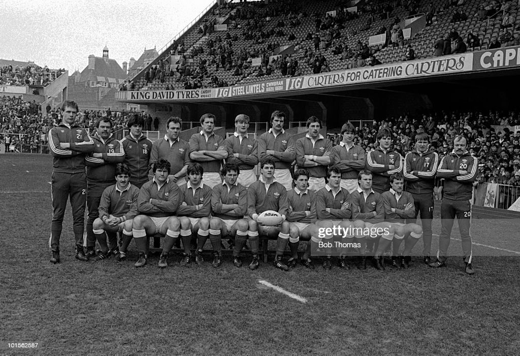 The Wales Rugby Union team prior to their International match against France held at Cardiff Arms Park on 1st March 1986. Back row, left to right: Mark Jones, Lawrence Delaney, Mark Douglas, Jeff Whitefoot, John Perkins, Paul Moriarty, David Waters, Phil Davies, John Devereux, Robert Ackerman, Malcolm Dacey and Michael Richards; front row, left to right: Robert Jones, Ian Eidman, Mark Titley, Billy James, David Pickering (captain), Jonathan Davies, Adrian Hadley, Paul Thorburn and Bleddyn Bowen. France beat Wales 23-15. (Bob Thomas/Getty Images).