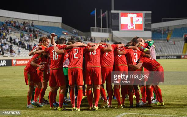 The Wales team celebrate after the UEFA EURO 2016 Qualifier between Cyprus and Wales at GPS Stadium on September 3 2015 in Nicosia Cyprus