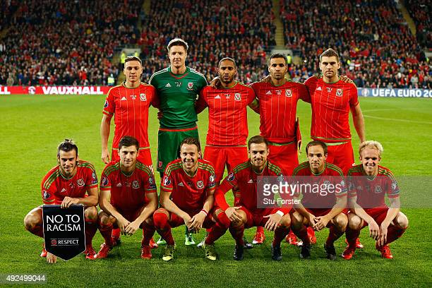 The Wales team line up before the UEFA EURO 2016 Group B Qualifier between Wales and Andorra at Cardiff City stadium on October 13 2015 in Cardiff...