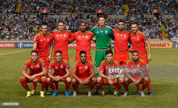 The Wales team line up before the UEFA EURO 2016 Qualifier between Cyprus and Wales at GPS Stadium on September 3 2015 in Nicosia Cyprus
