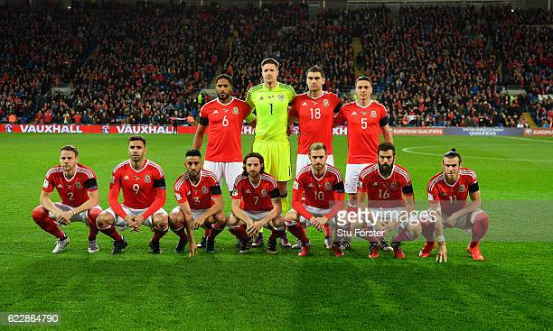 The Wales team pose for a team group before the FIFA 2018 World Cup Qualifier between Wales and Serbia at Cardiff City Stadium on November 12 2016 in...