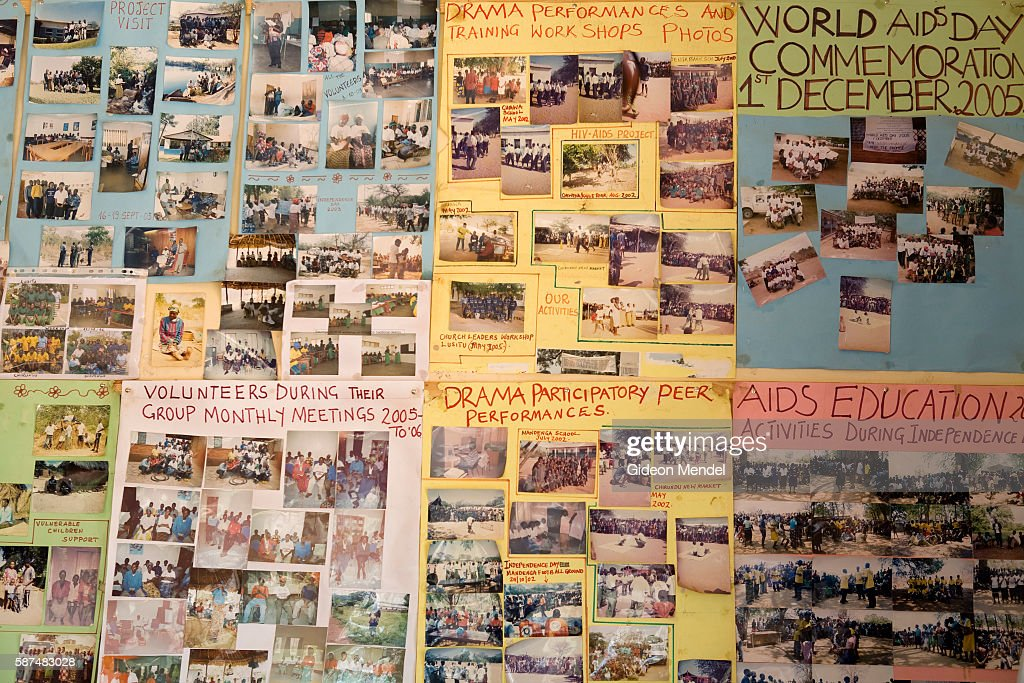 The wall display at the offices of CHAZ show snapshots from a variety of events and activities which are part of their campaigns to prevent the...