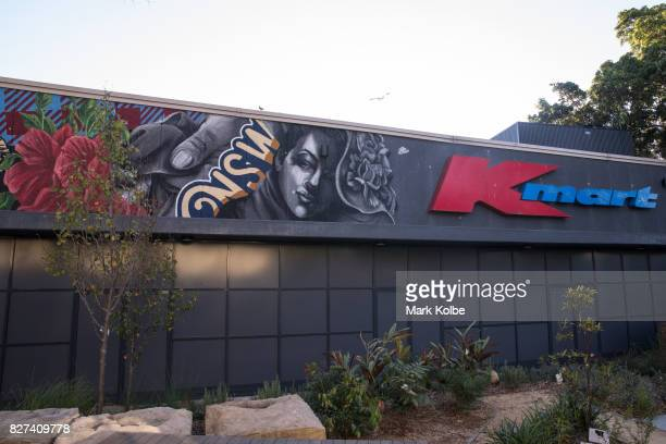 The wall mural painted by artist Alex Lehours is seen on the exterior of the Marrickville Metro shopping centre in Marrickville on August 7 2017 in...