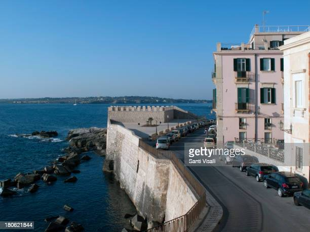 The Wall of Ortygia on August 32013 in Syracuse Italy