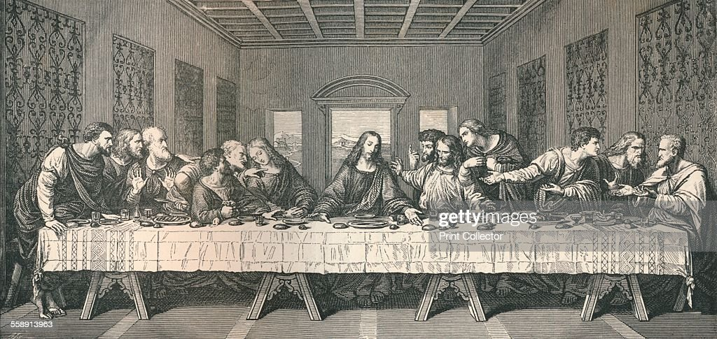 The wall painting of `The Last Supper`, at Milan, 1883. From The Literary Works of Leonardo Da Vinci, Vol. 1 by Jean Paul Richter, PH. DR. [Sampson Low, Marston, Searle & Rivington, London, 1883].