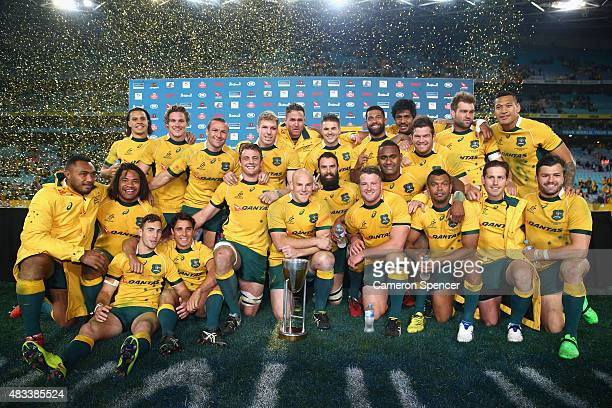 The Wallabies celebrate winning the Rugby Championship match between the Australia Wallabies and the New Zealand All Blacks at ANZ Stadium on August...