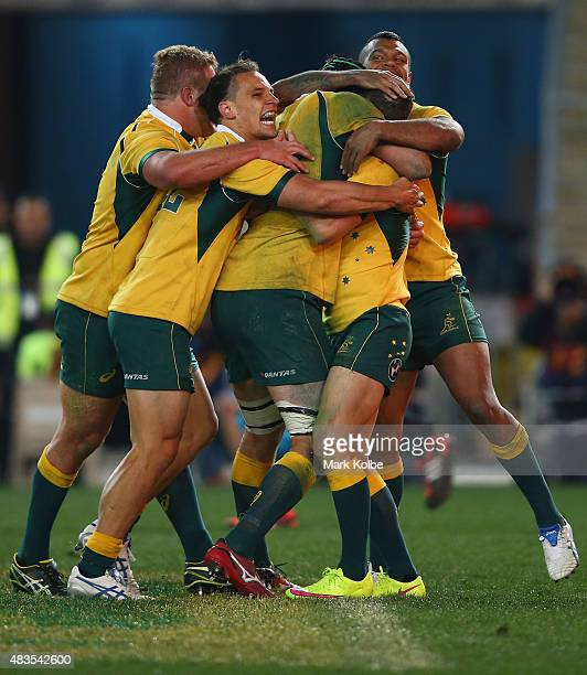 The Wallabies celebrate with Nick White of the Wallabies after he scored a try during The Rugby Championship match between the Australia Wallabies...