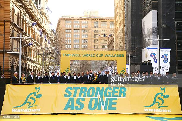 The Wallabies coach Michael Cheika speaks as the Australian Wallabies 2015 Rugby World Cup squad line up during the Australia Rugby World Cup...
