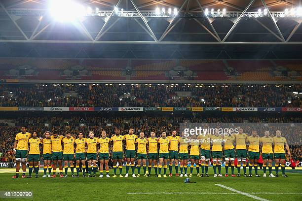 The Wallabies line up for the Australian national anthem during The Rugby Championship match between the Australian Wallabies and the South Africa...