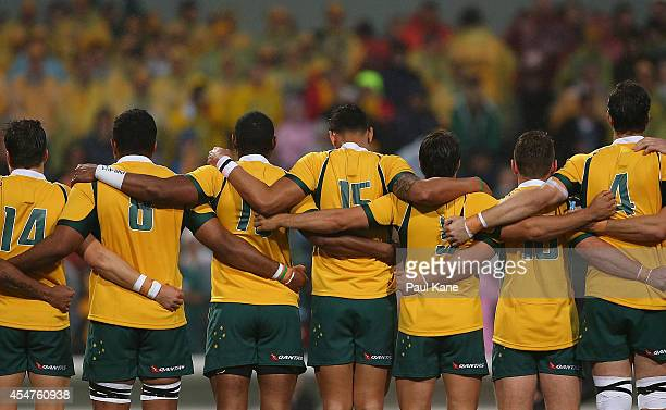 The Wallabies line up for the national anthem before The Rugby Championship match between the Australian Wallabies and the South African Springboks...