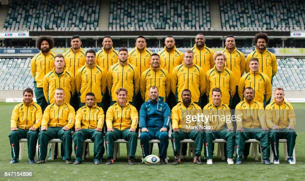 The Wallabies player and staff pose for a team photo during the Australian Wallabies Captain's Run at GIO Stadium on September 15 2017 in Canberra...