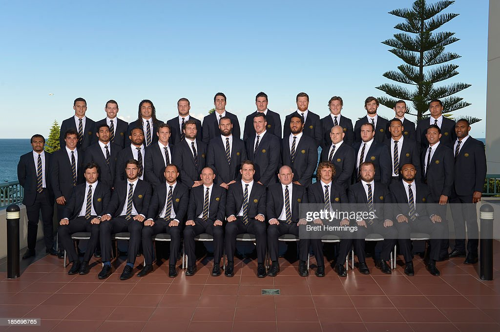 The Wallabies pose for a photo during the Australian Wallabies Spring Tour Squad teamshot at Crowne Plaza Coogee on October 24 2013 in Sydney...