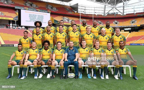 The Wallabies pose for a team photo during the Australian Wallabies Captain's Run at Suncorp Stadium on October 20 2017 in Brisbane Australia