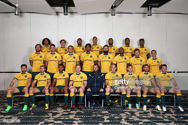 The Wallabies pose for a team shot at the Crown Plaza on August 12 2015 in Sydney Australia