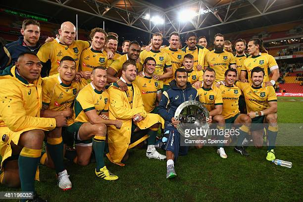 The Wallabies pose with the Nelson Mandela Challenge plate after winning the Rugby Championship match between the Australian Wallabies and the South...