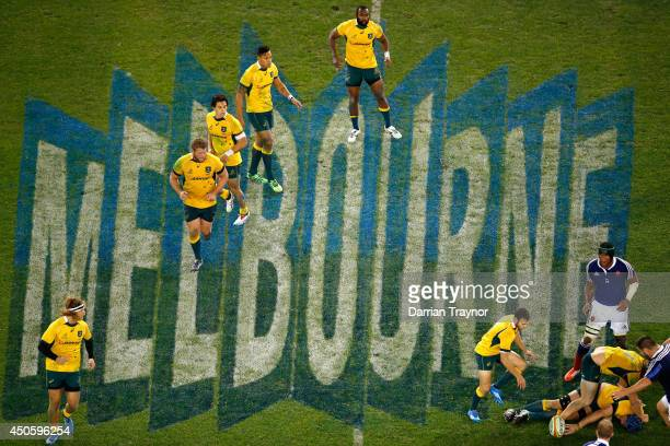The Wallabies set up to move the ball forward during the second International Test Match between the Australian Wallabies and France at Etihad...