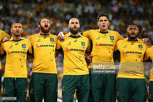 The Wallabies sing the Australian national anthem during The Bledisloe Cup match between the Australian Wallabies and the New Zealand All Blacks at...
