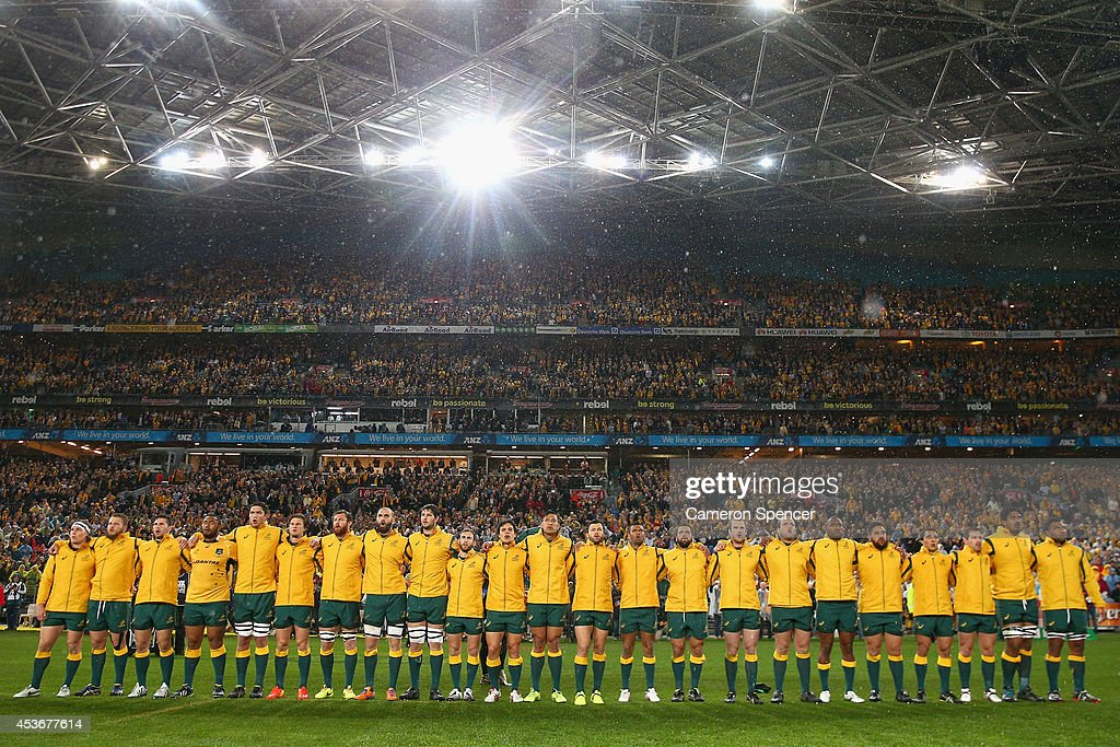 The Wallabies sing the Australian national anthem during The Rugby Championship match between the Australian Wallabies and the New Zealand All Blacks...