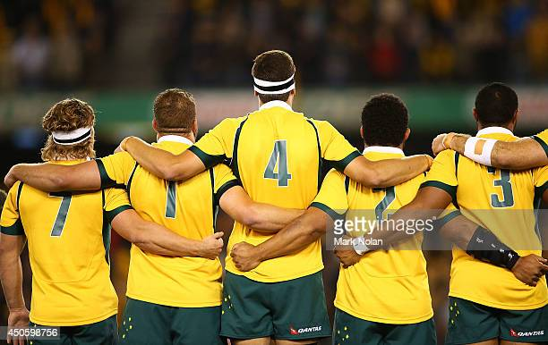 The Wallabies sing the National anthem before the second International Test Match between the Australian Wallabies and France at Etihad Stadium on...