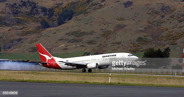 The Wallabies touch down on their chartered Qantas flight into Dunedin airport prior to the test match at Carisbrook stadium this Saturday against...