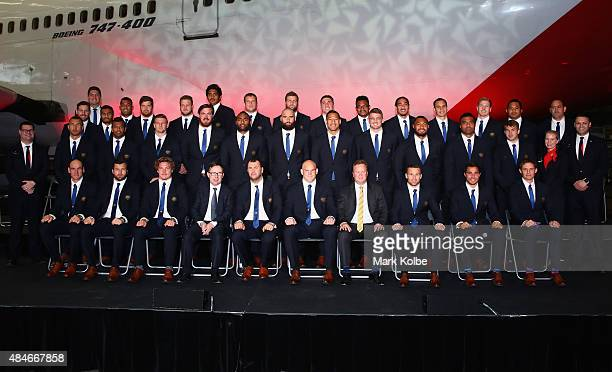 The Wallabies World Cup Squad pose during the Australian Wallabies Rugby World Cup squad announcement at Hangar 96 Qantas Sydney Jet Base on August...
