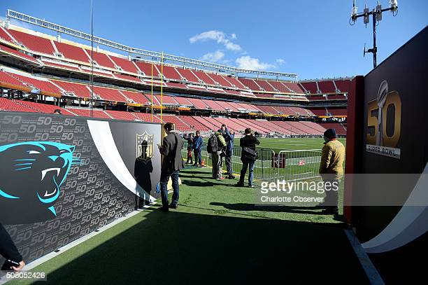 The walls of the Carolina Panthers' entrance to the field are decorated during a tour on Tuesday Feb 2 of Levi's Stadium in Santa Clara Calif site of...
