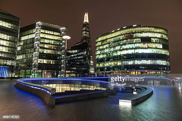 The walls of The Scoop by City Hall are illuminated in blue to mark the World Autism Awareness Day on April 2 2015 in London England