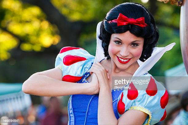 The Walt Disney Co Snow White character acts in 'Mickey's Soundsational Parade' in the Main Street USA area of Disneyland Park part of the Disneyland...