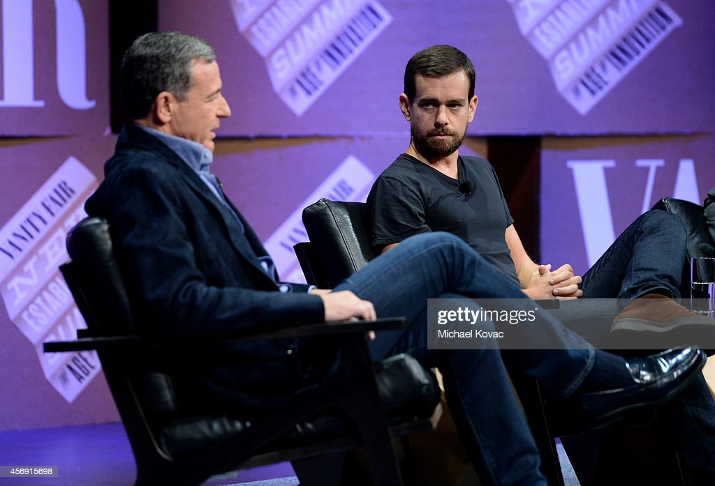 The Walt Disney Company Chairman and CEO Bob Iger and Twitter Co-Founder and Chairman and Square CEO Jack Dorsey speak onstage during 'From 7 Dwarves to 140 Characters' at the Vanity Fair New Establishment Summit at Yerba Buena Center for the Arts on October 9, 2014 in San Francisco, California.