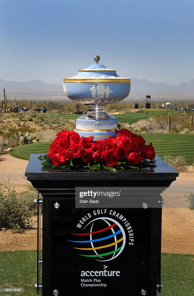 The Walter Hagen Trophy is displayed on the first tee during the final round of the World Golf Championships-Accenture Match Play Championship at The Golf Club at Dove Mountain on February 24, 2013 in Marana, Arizona.