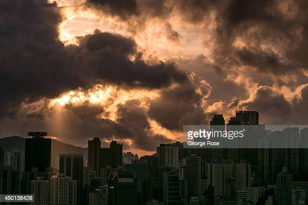 The Wan Chai District skyline is viewed at sunrise on May 24 in Hong Kong China Viewed as the world's third most important trade and financial...