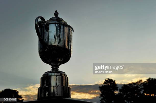The Wanamaker Trophy is seen as the sun rises during the first round of the 93rd PGA Championship at the Atlanta Athletic Club on August 11 2011 in...