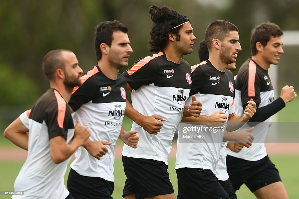 The Wanderers palyers warm up during a Western Sydney Wanderers A-League training session at Blacktown International Sportspark on February 12, 2013 in Sydney, Australia.