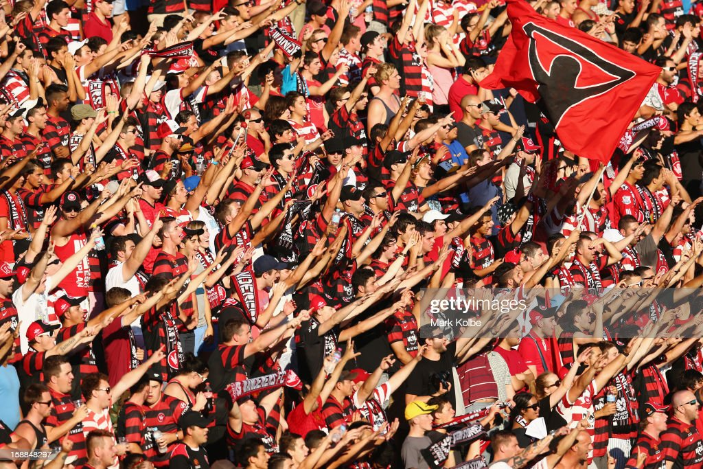 The Wanderers supporters cheer during the round 14 A-League match between the Western Sydney Wanderers and the Melbourne Victory at Parramatta Stadium on January 1, 2013 in Sydney, Australia.