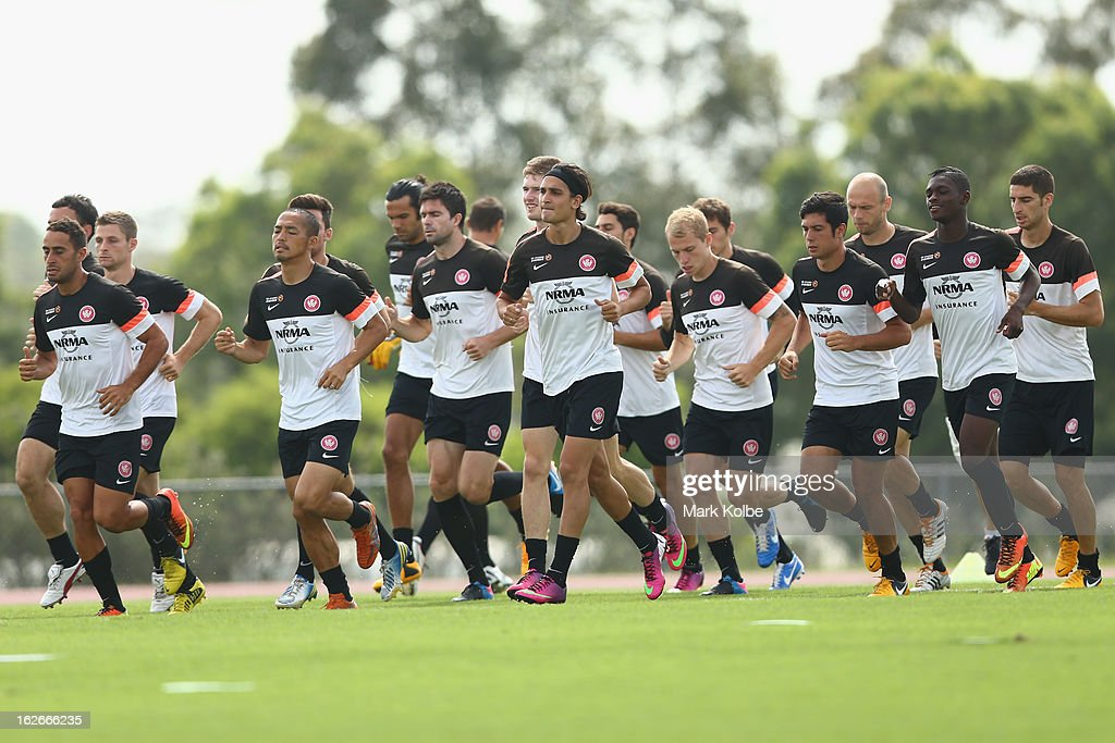 The Wanderers team warm-up during a Western Sydney Wanderers A-League training session at Blacktown International Sportspark on February 26, 2013 in Sydney, Australia.