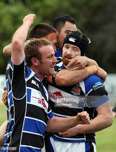 The Wanganui team celebrate after winning the Lochore Cup during the Lochore Cup Final match between North Otago and Wanganui on October 26 2014 in...