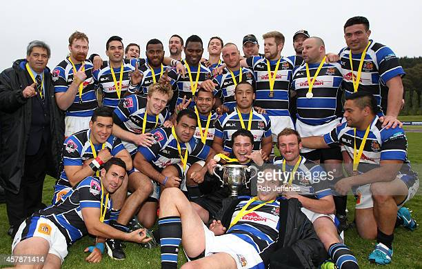 The Wanganui team pose for a photo after winning the Lochore Cup during the Lochore Cup Final match between North Otago and Wanganui on October 26...