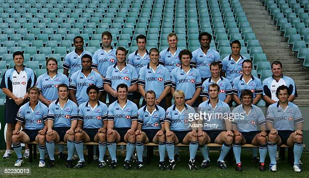 The Waratahs have their team photo taken during training at Aussie Stadium February 23 2005 in Sydney Australia