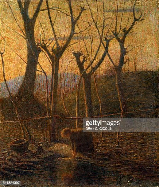 The warm stream or The washerwoman by Victor de Grubicy Dragon oil on canvas 47x405 cm Milano Civiche Raccolte D'Arte Museo Dell'Ottocento Villa...