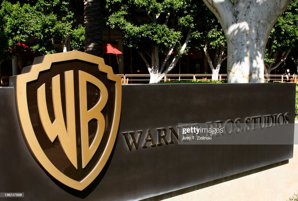 The Warner Bros logo outside the Warner Bros Studio lot in Burbank, California, 30th September 2008.
