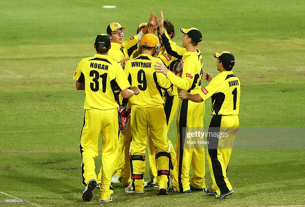 The Warriors celebrate a wicket during the Ryobi One Day Cup match between the New South Wales Blues and the Western Australia Warriors at Sydney Cricket Ground on January 30, 2013 in Sydney, Australia.